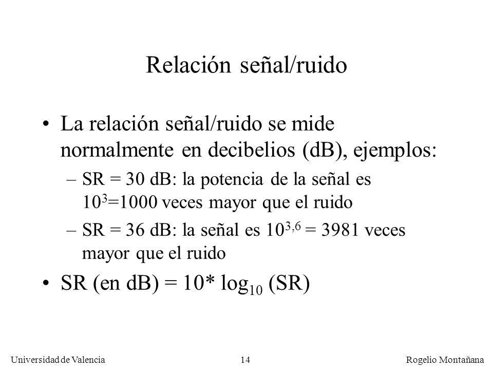 La Capa FísicaRelación señal/ruido. La relación señal/ruido se mide normalmente en decibelios (dB), ejemplos: