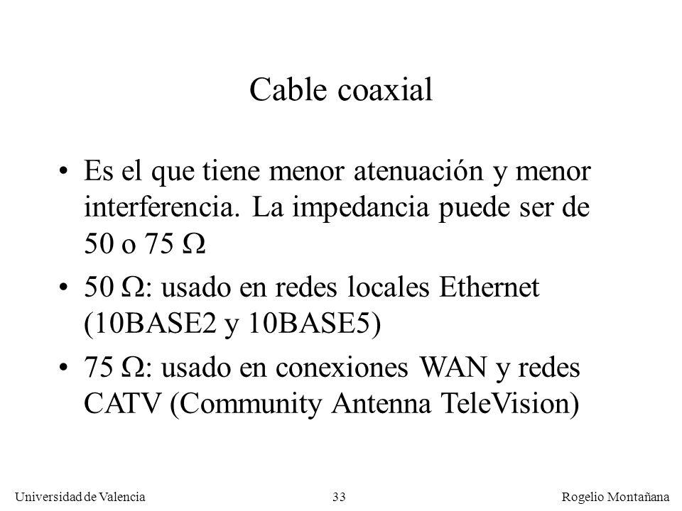 La Capa Física Cable coaxial. Es el que tiene menor atenuación y menor interferencia. La impedancia puede ser de 50 o 75 