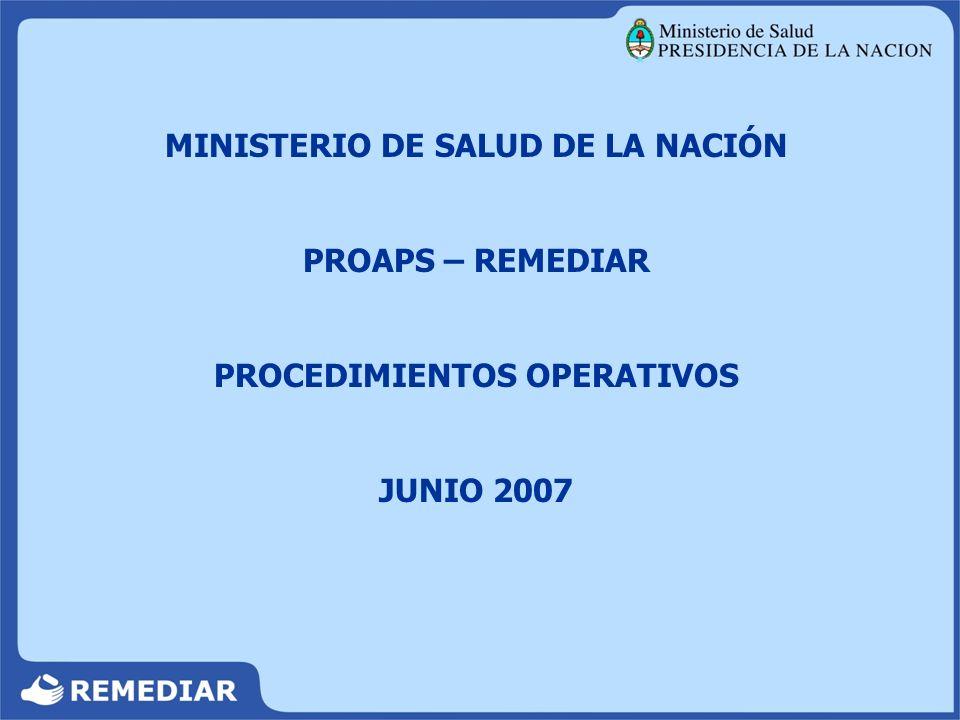 MINISTERIO DE SALUD DE LA NACIÓN PROCEDIMIENTOS OPERATIVOS