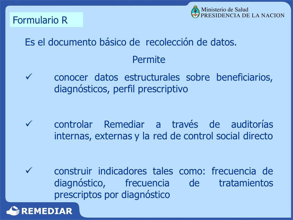 Formulario R Es el documento básico de recolección de datos. Permite.