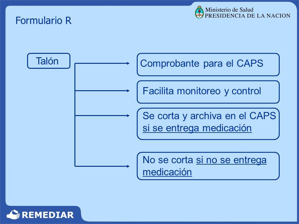 Formulario R Talón. Comprobante para el CAPS. Facilita monitoreo y control. Se corta y archiva en el CAPS si se entrega medicación.