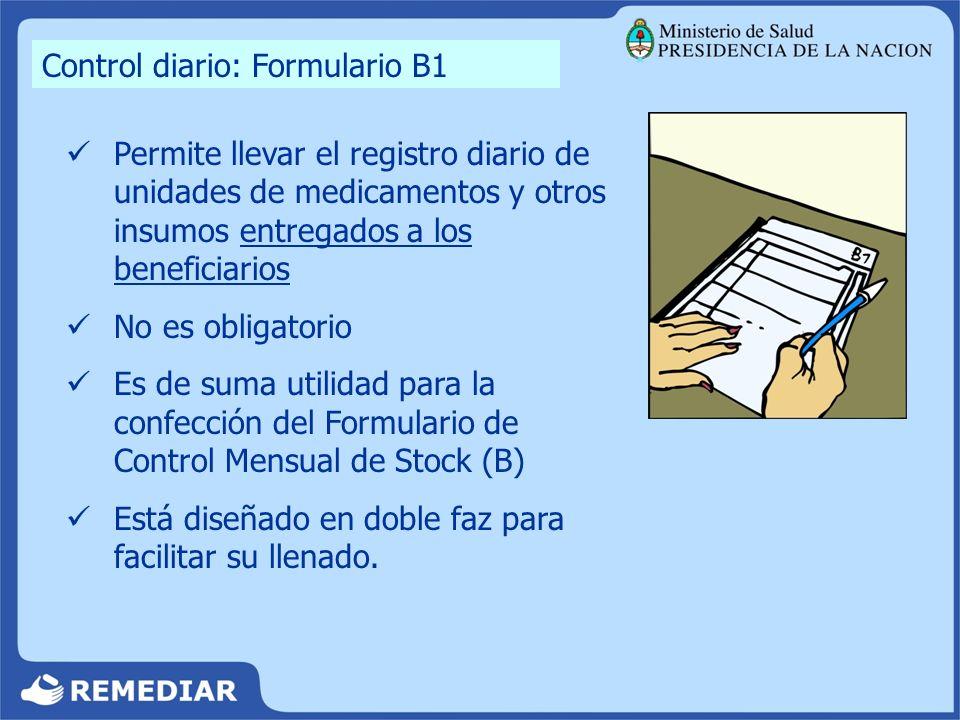 Control diario: Formulario B1