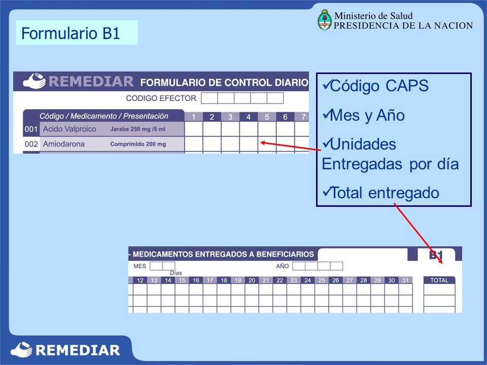 Formulario B1 Código CAPS Mes y Año Unidades Entregadas por día Total entregado