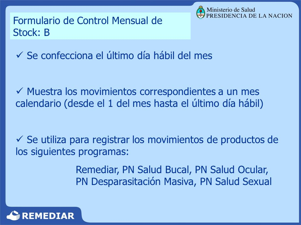 Formulario de Control Mensual de Stock: B