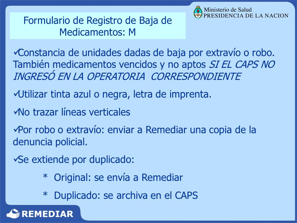 Formulario de Registro de Baja de Medicamentos: M
