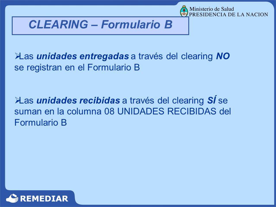 CLEARING – Formulario B