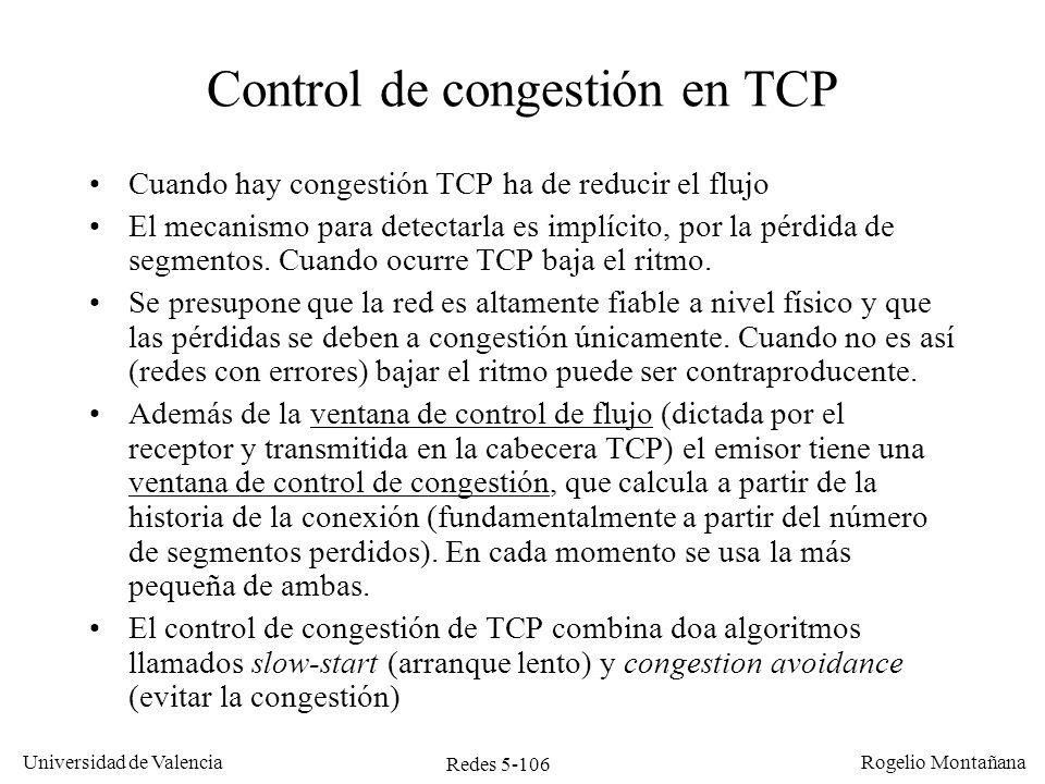 Control de congestión en TCP