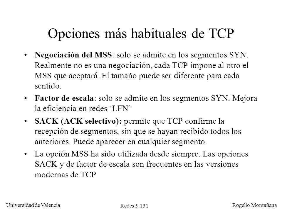 Opciones más habituales de TCP