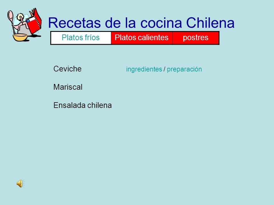 Recetas de la cocina Chilena