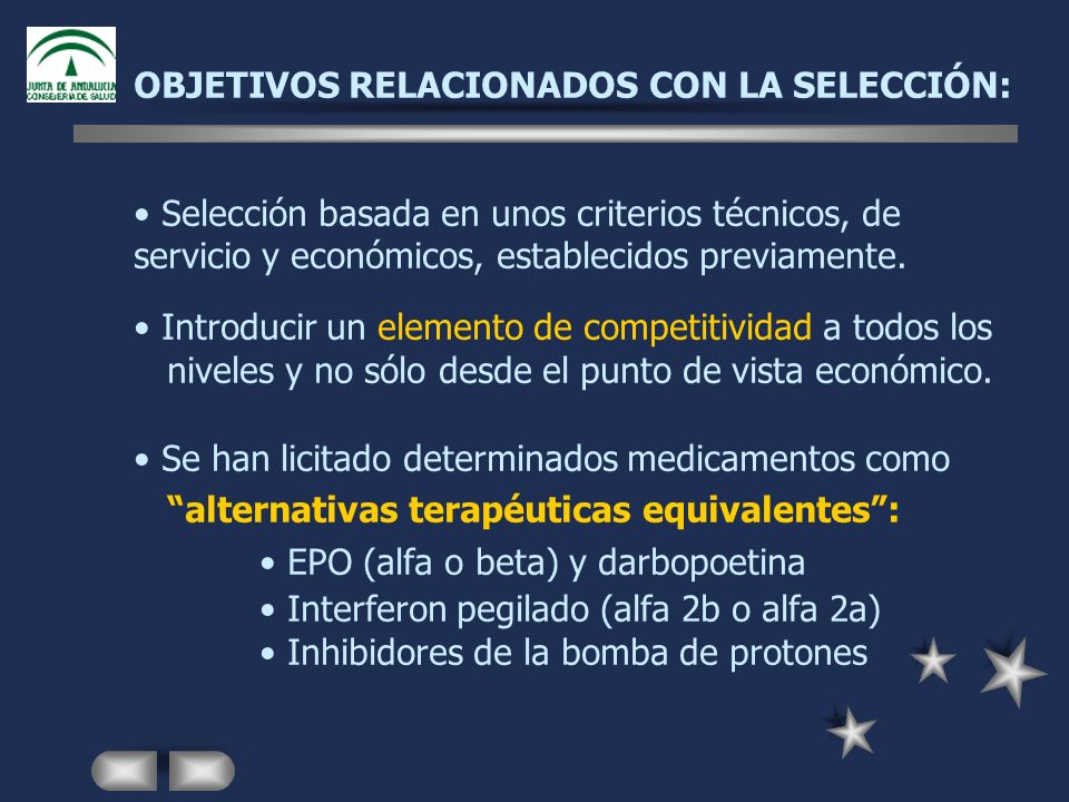 OBJETIVOS RELACIONADOS CON LA SELECCIÓN: