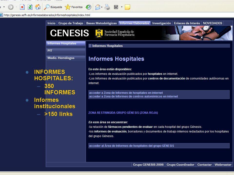 INFORMES HOSPITALES: 350 INFORMES Informes institucionales >150 links