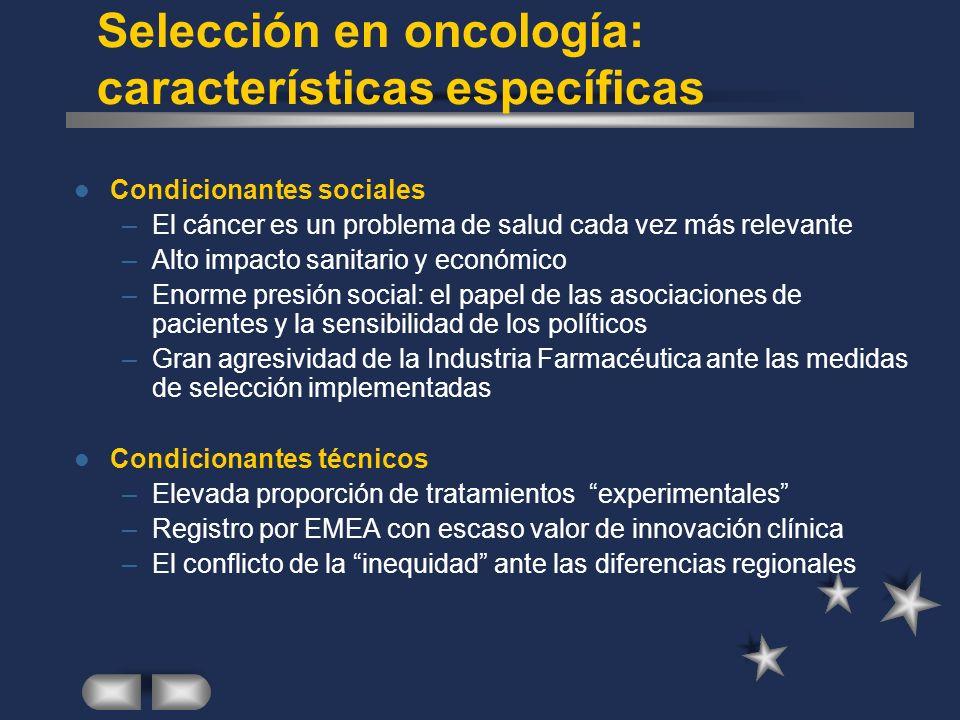 Selección en oncología: características específicas