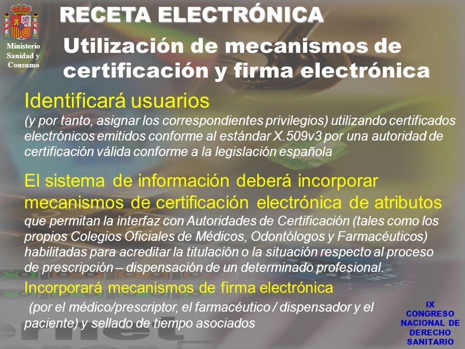 Ministerio Sanidad y Consumo IX CONGRESO NACIONAL DE DERECHO SANITARIO