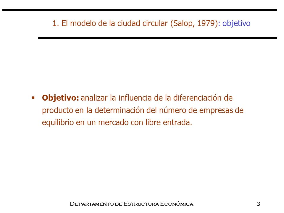 1. El modelo de la ciudad circular (Salop, 1979): objetivo