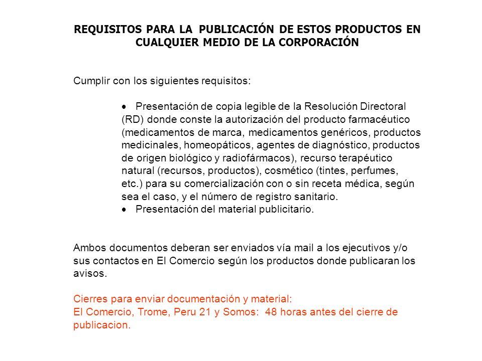 REQUISITOS PARA LA PUBLICACIÓN DE ESTOS PRODUCTOS EN CUALQUIER MEDIO DE LA CORPORACIÓN