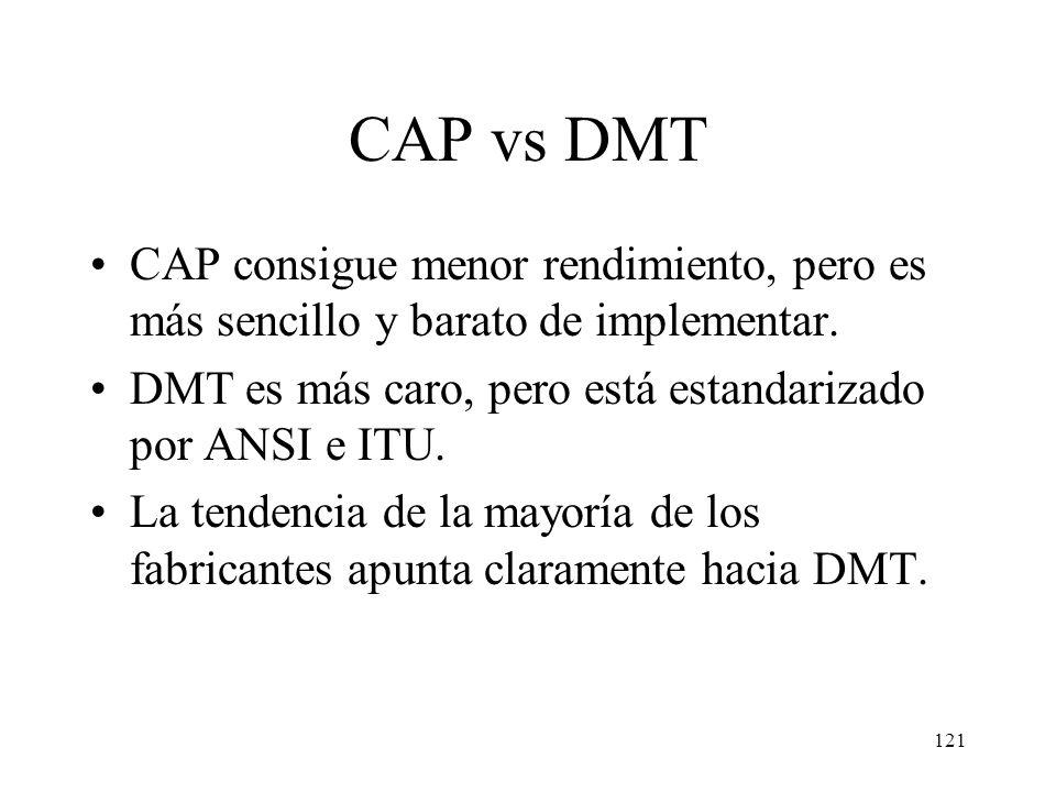 CAP vs DMT CAP consigue menor rendimiento, pero es más sencillo y barato de implementar. DMT es más caro, pero está estandarizado por ANSI e ITU.
