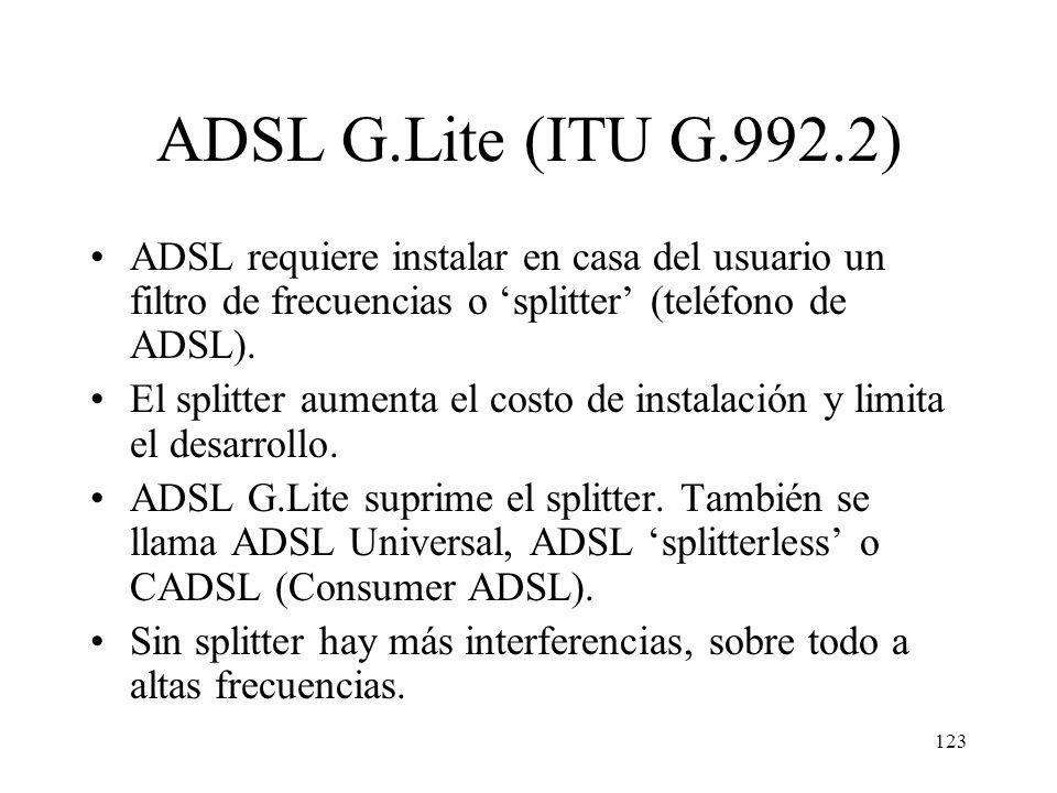 ADSL G.Lite (ITU G.992.2) ADSL requiere instalar en casa del usuario un filtro de frecuencias o 'splitter' (teléfono de ADSL).