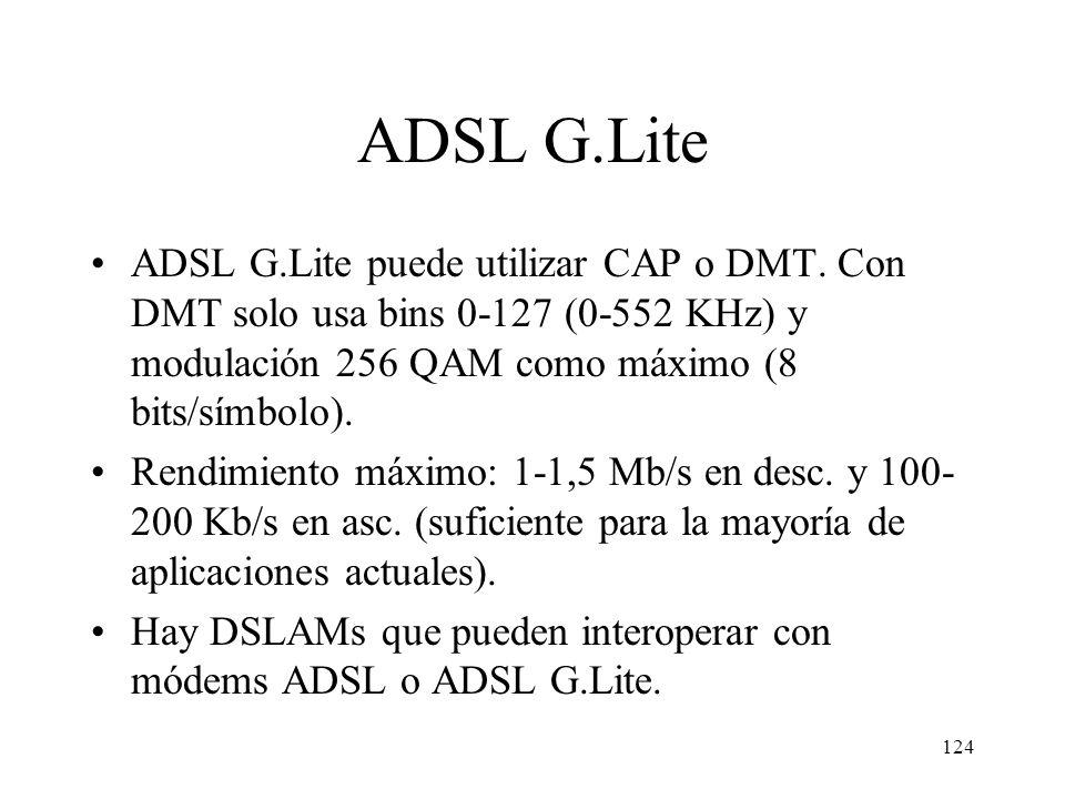 ADSL G.Lite ADSL G.Lite puede utilizar CAP o DMT. Con DMT solo usa bins 0-127 (0-552 KHz) y modulación 256 QAM como máximo (8 bits/símbolo).