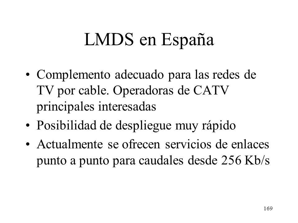 LMDS en España Complemento adecuado para las redes de TV por cable. Operadoras de CATV principales interesadas.