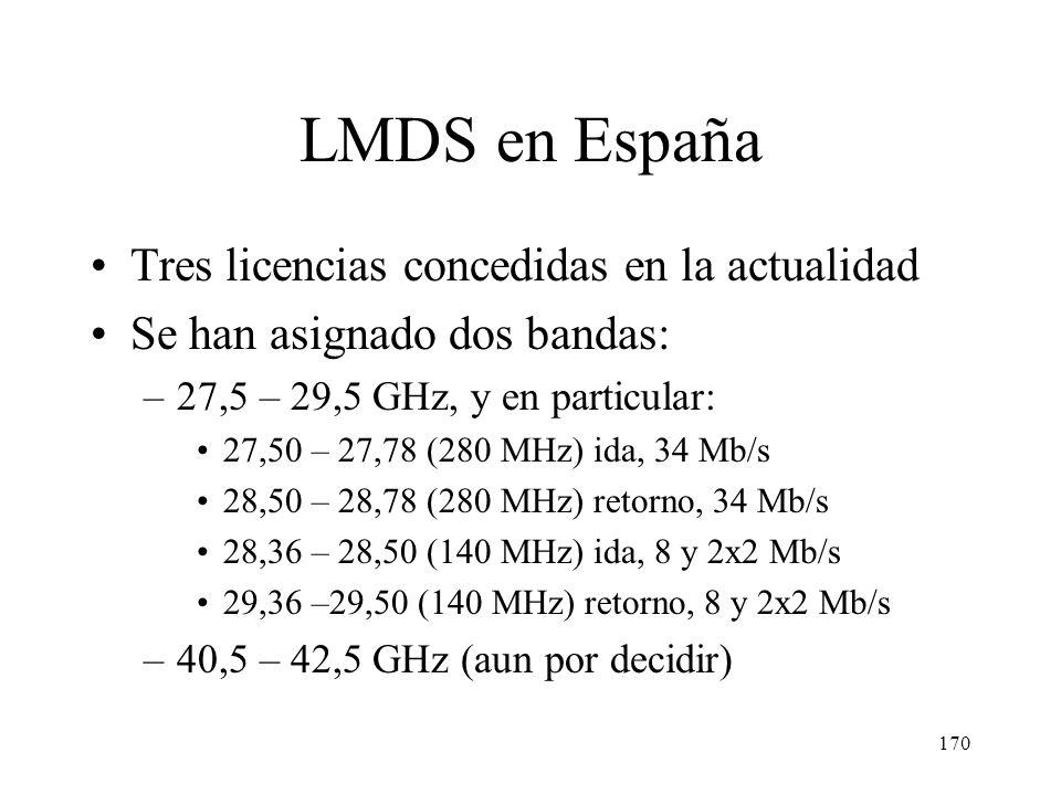 LMDS en España Tres licencias concedidas en la actualidad