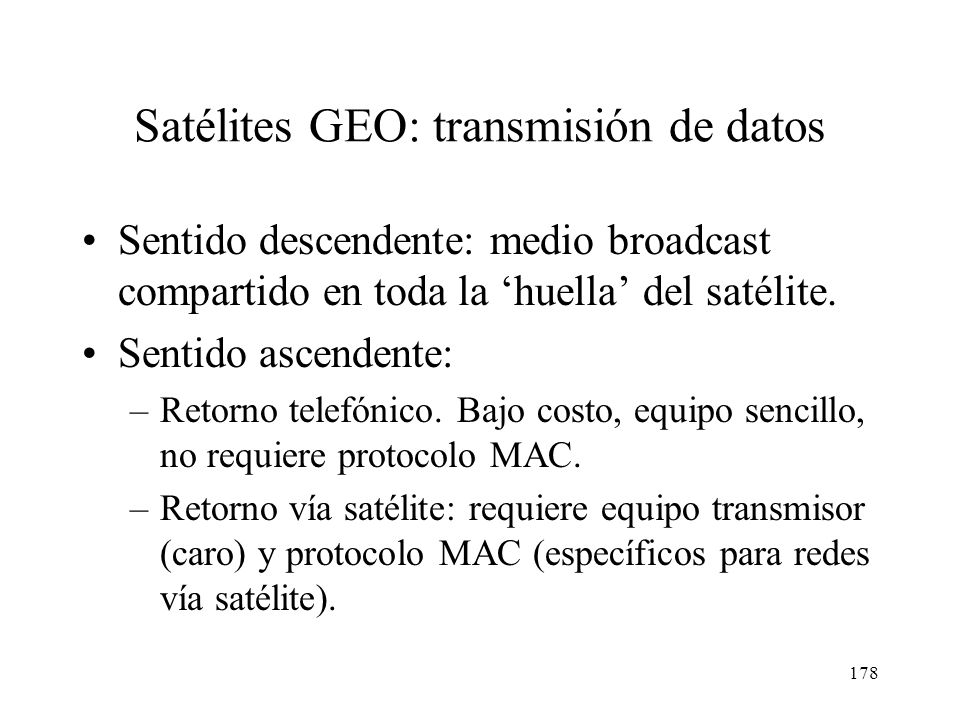 Satélites GEO: transmisión de datos