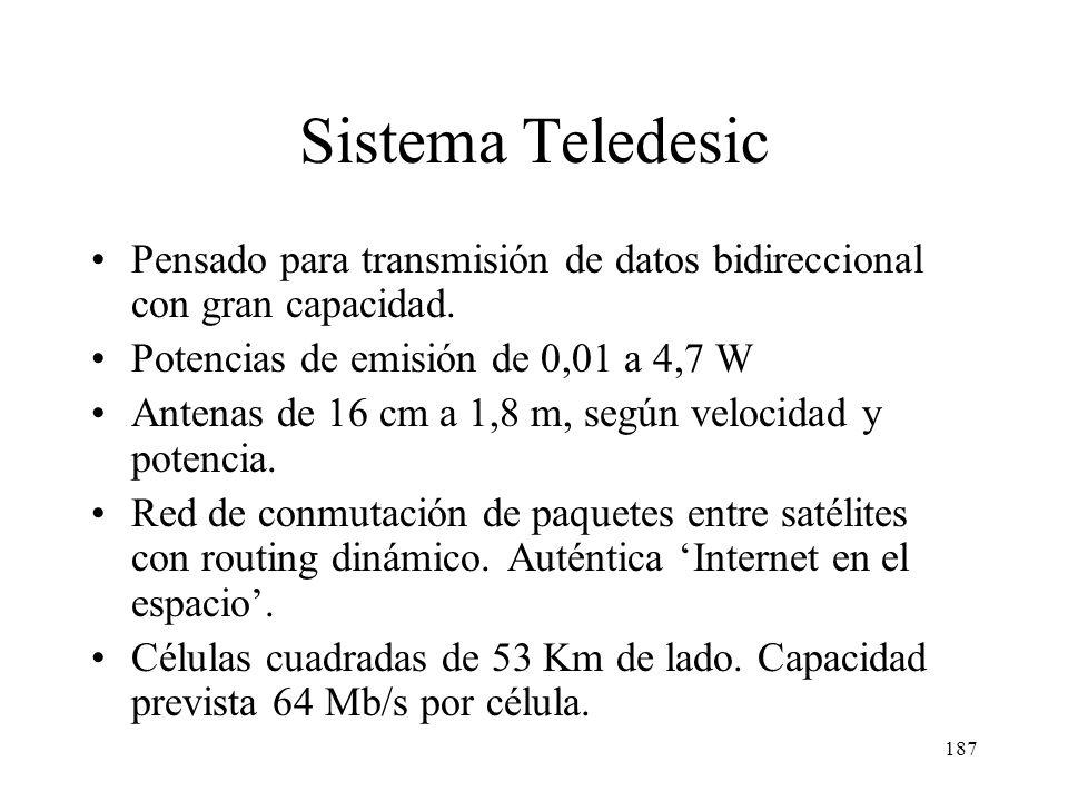 Sistema Teledesic Pensado para transmisión de datos bidireccional con gran capacidad. Potencias de emisión de 0,01 a 4,7 W.