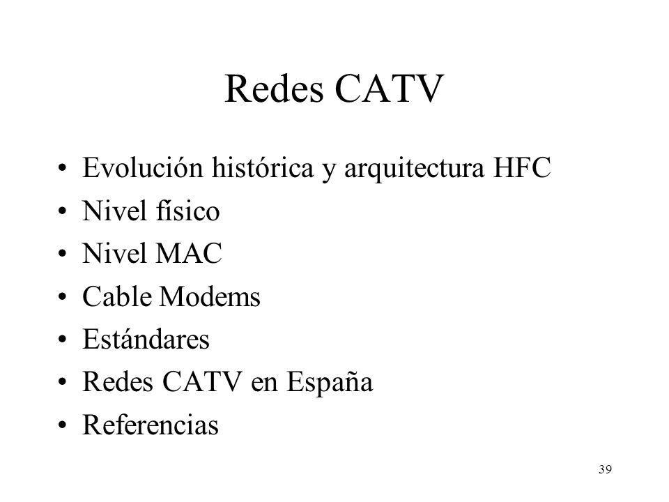 Redes CATV Evolución histórica y arquitectura HFC Nivel físico