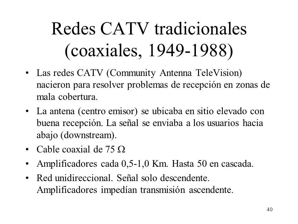 Redes CATV tradicionales (coaxiales, 1949-1988)