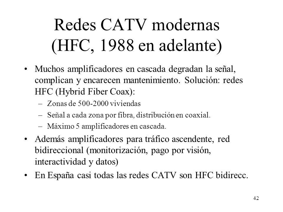 Redes CATV modernas (HFC, 1988 en adelante)