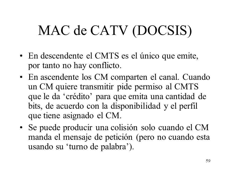 MAC de CATV (DOCSIS) En descendente el CMTS es el único que emite, por tanto no hay conflicto.