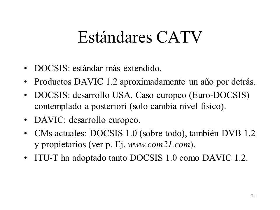 Estándares CATV DOCSIS: estándar más extendido.
