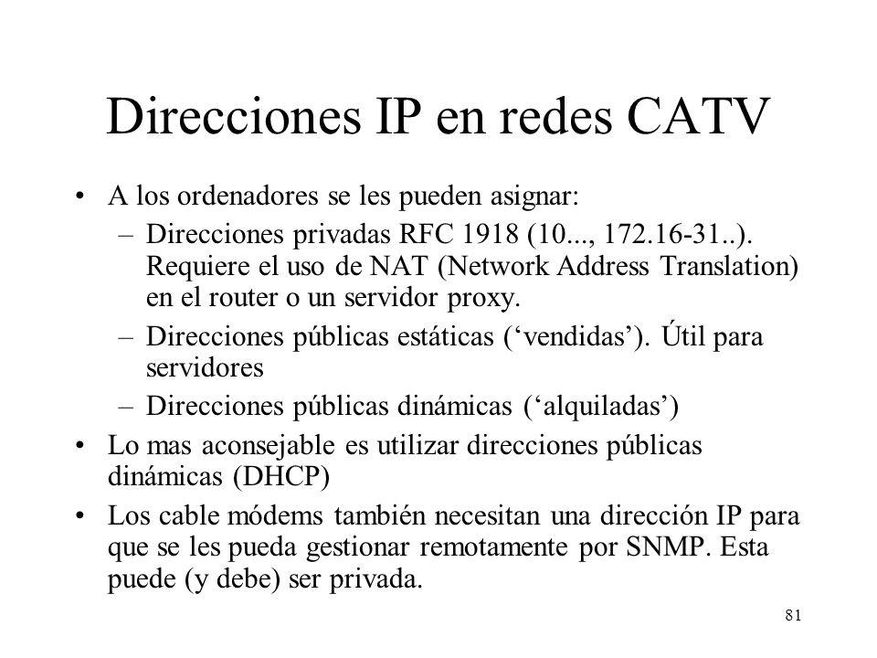 Direcciones IP en redes CATV