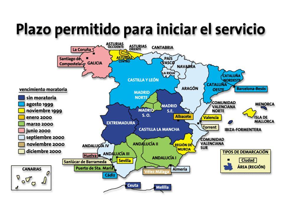 España está dividida en una serie de demarcaciones, cada una de las cuales se adjudica de forma independiente a un operador por la Comunidad Autónoma correspondiente.
