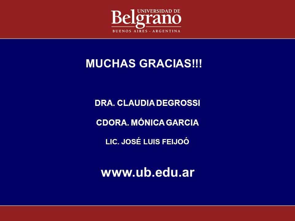 www.ub.edu.ar MUCHAS GRACIAS!!! DRA. CLAUDIA DEGROSSI