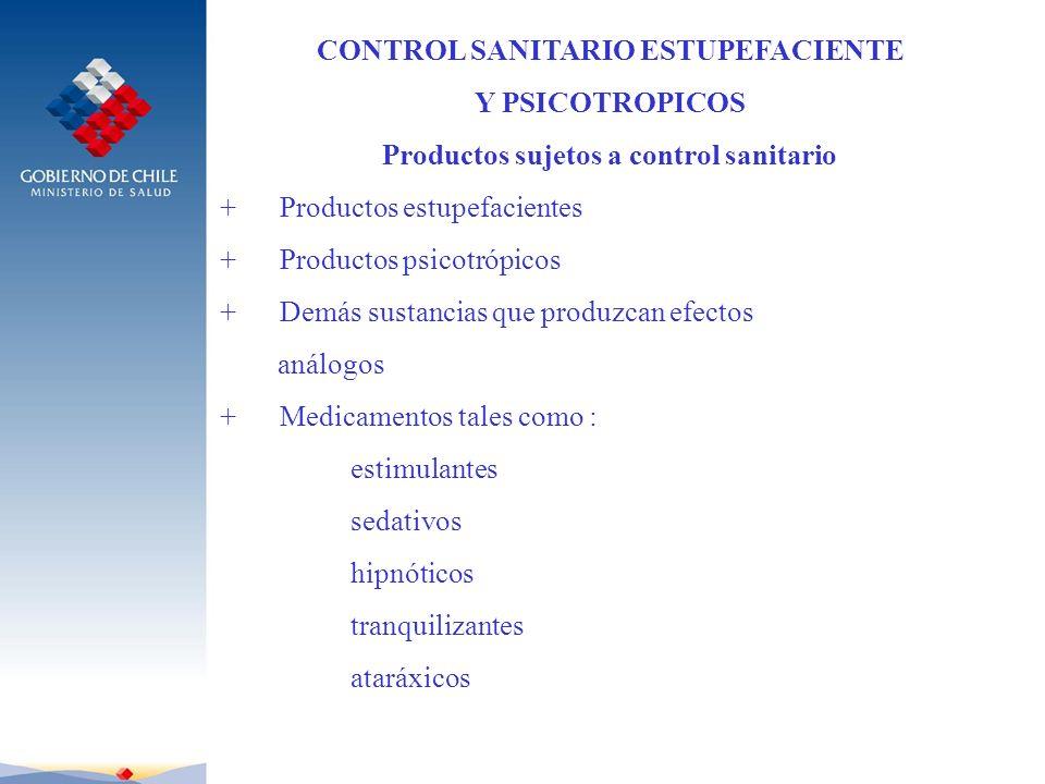 CONTROL SANITARIO ESTUPEFACIENTE Productos sujetos a control sanitario
