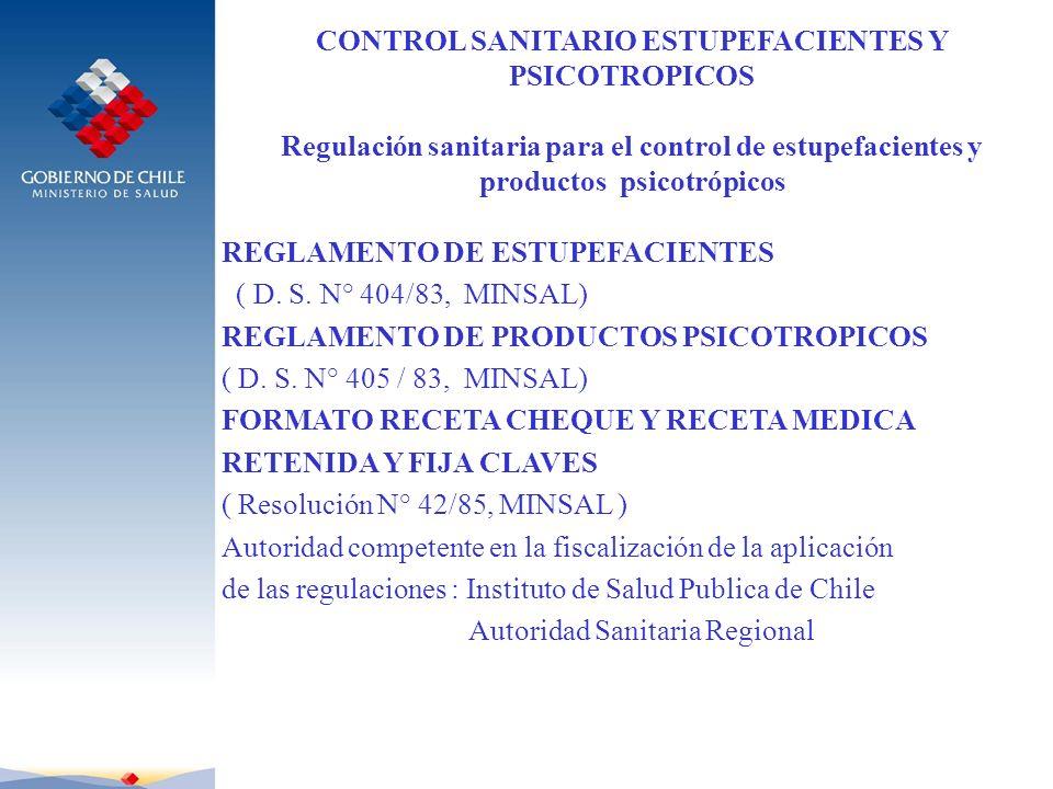 CONTROL SANITARIO ESTUPEFACIENTES Y PSICOTROPICOS Regulación sanitaria para el control de estupefacientes y productos psicotrópicos