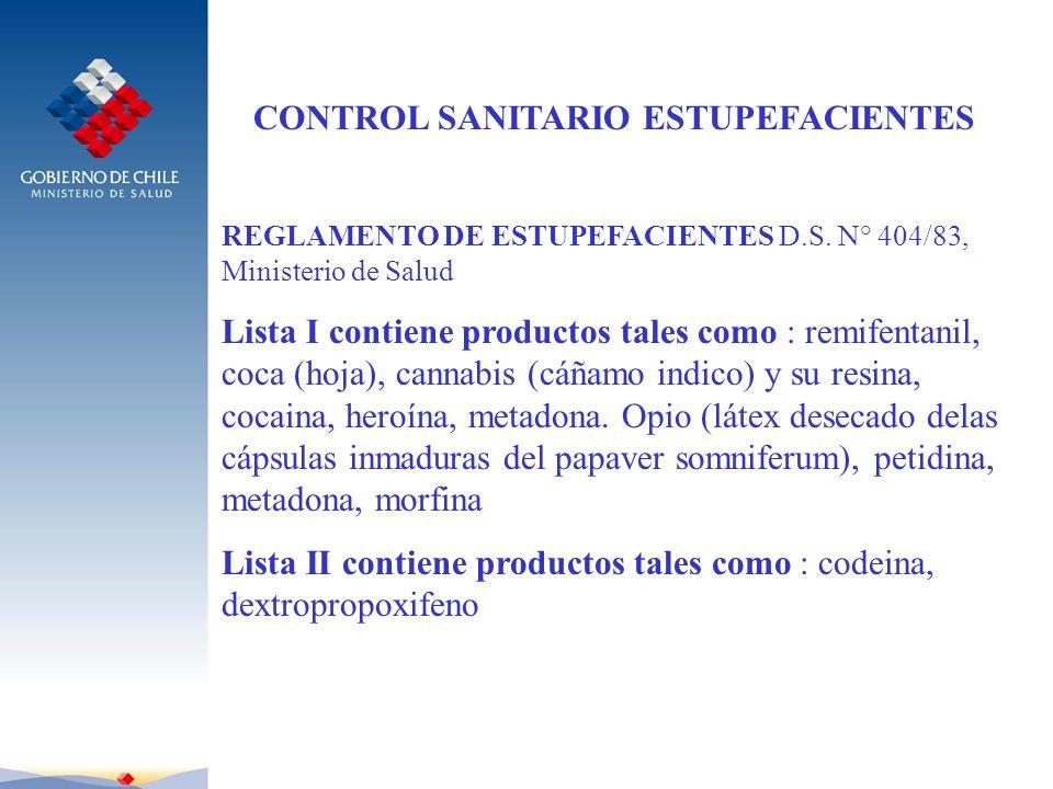 CONTROL SANITARIO ESTUPEFACIENTES