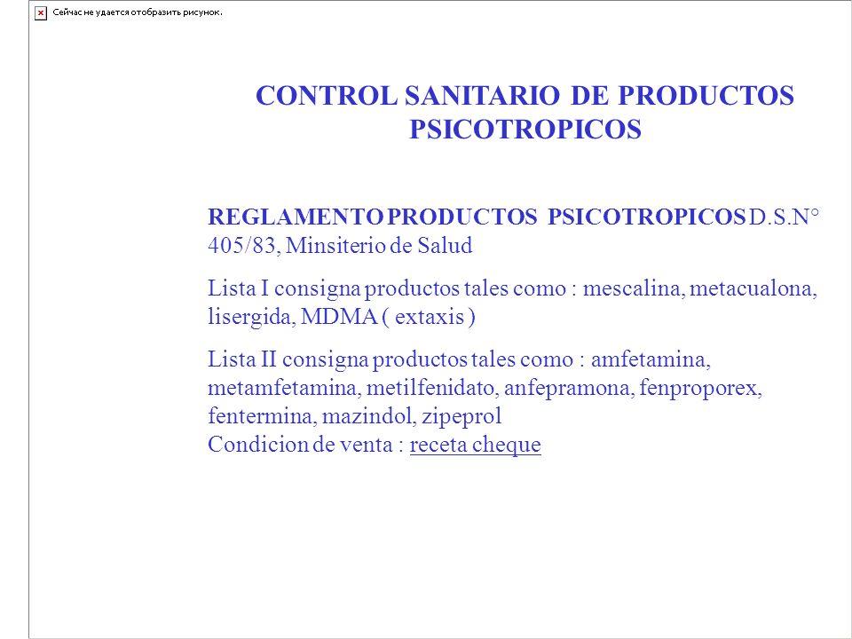 CONTROL SANITARIO DE PRODUCTOS PSICOTROPICOS