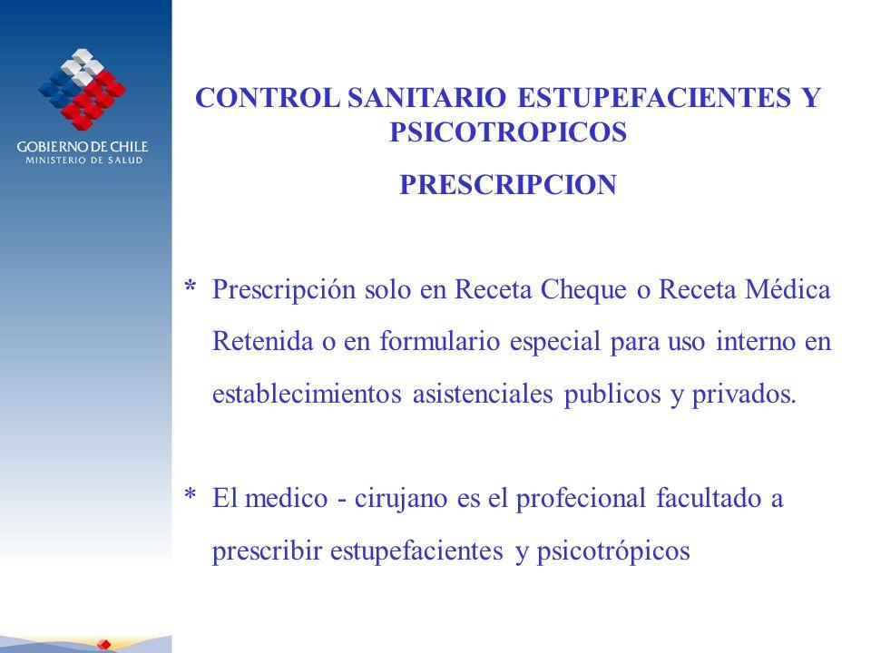 CONTROL SANITARIO ESTUPEFACIENTES Y PSICOTROPICOS