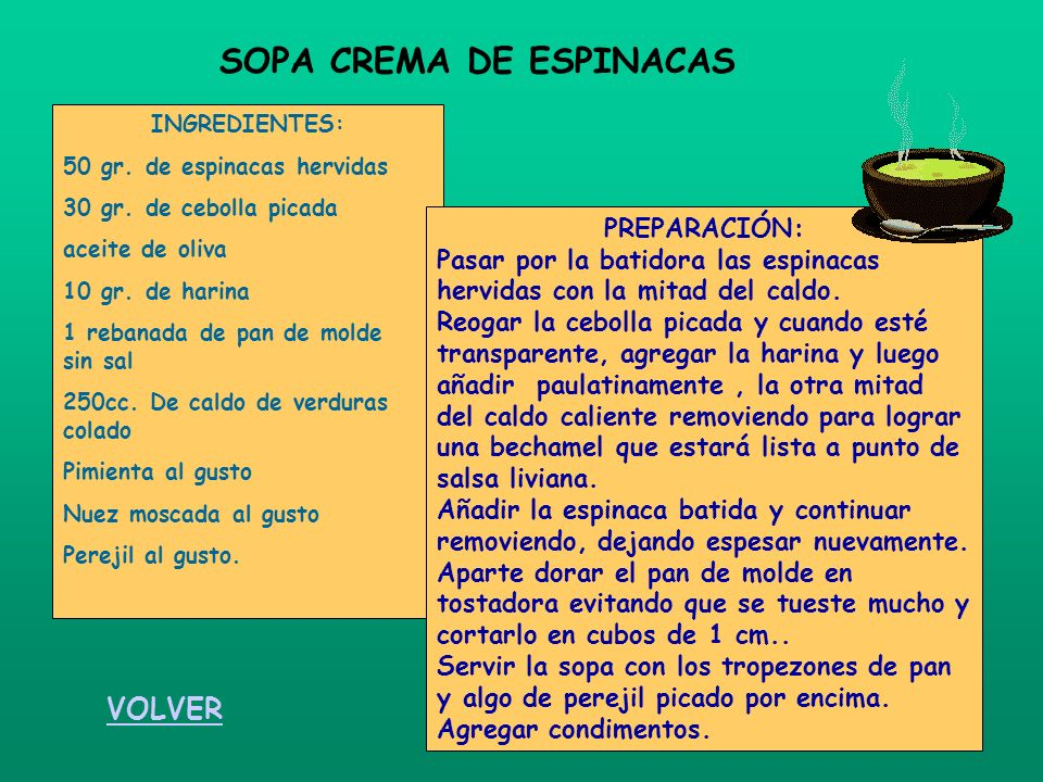 SOPA CREMA DE ESPINACAS