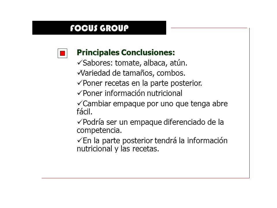 FOCUS GROUP Principales Conclusiones: Sabores: tomate, albaca, atún.