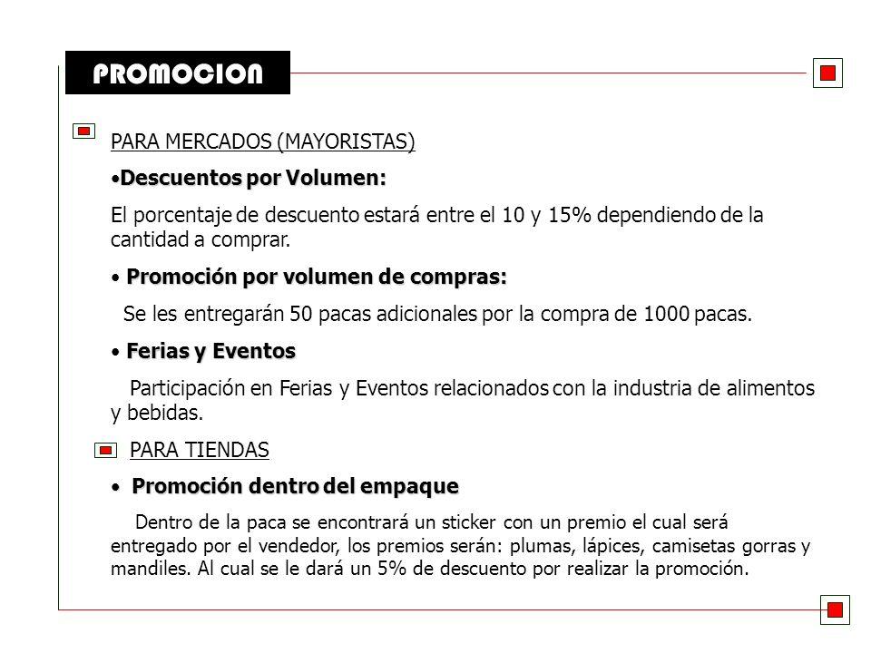 PROMOCION PARA MERCADOS (MAYORISTAS) Descuentos por Volumen: