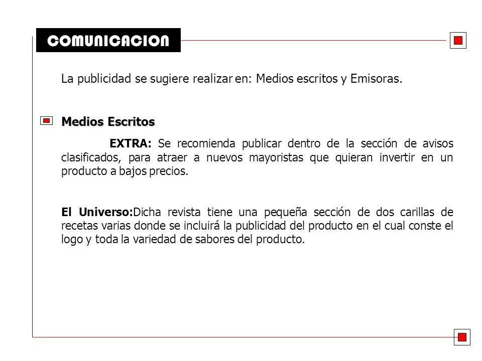 COMUNICACION La publicidad se sugiere realizar en: Medios escritos y Emisoras. Medios Escritos.