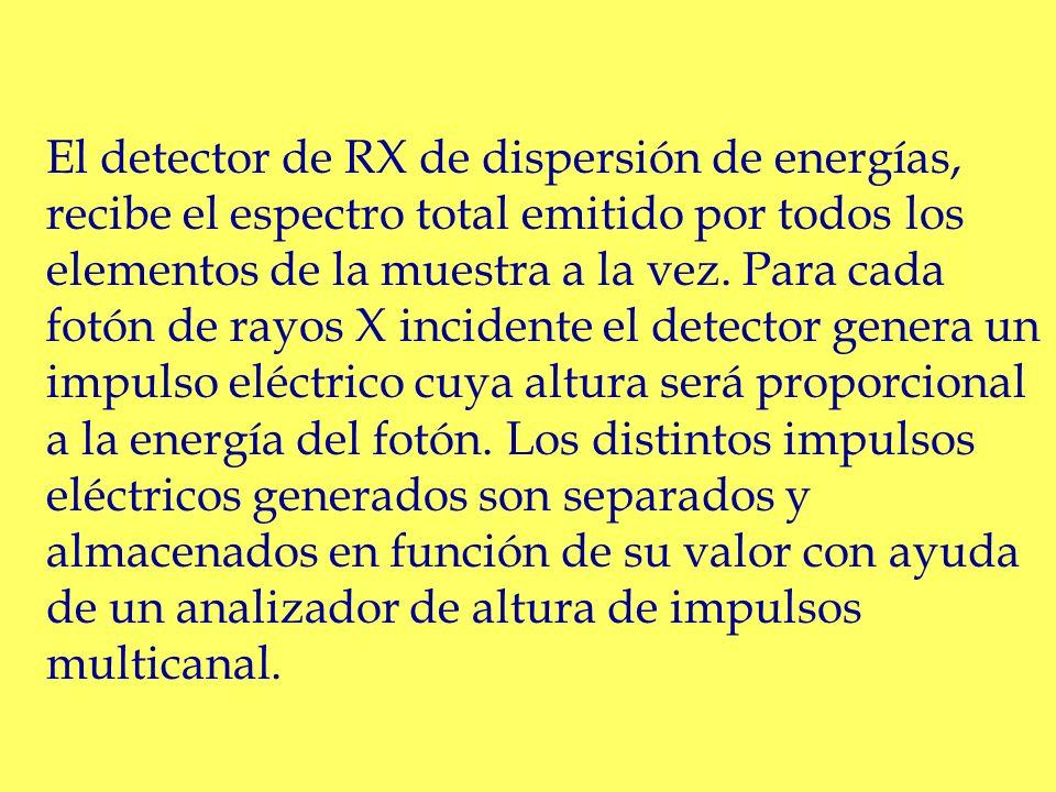 El detector de RX de dispersión de energías, recibe el espectro total emitido por todos los elementos de la muestra a la vez.