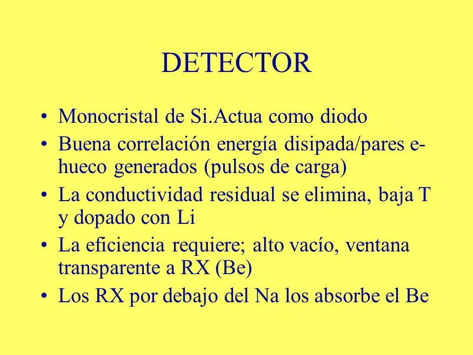 DETECTOR Monocristal de Si.Actua como diodo