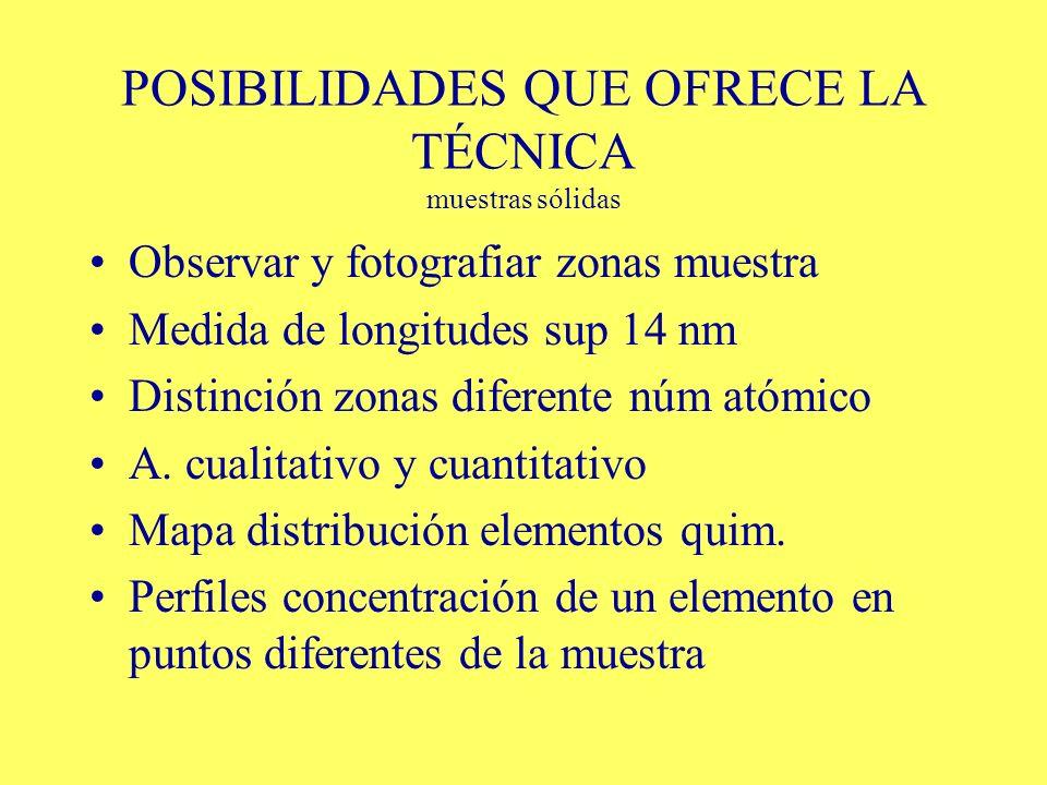 POSIBILIDADES QUE OFRECE LA TÉCNICA muestras sólidas