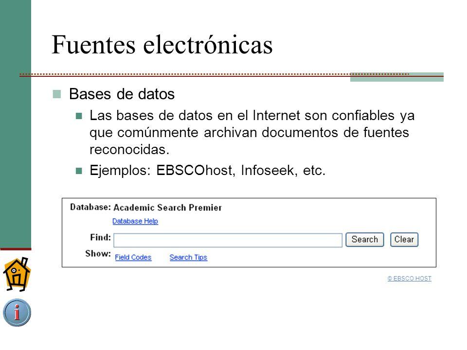 Fuentes electrónicas Bases de datos