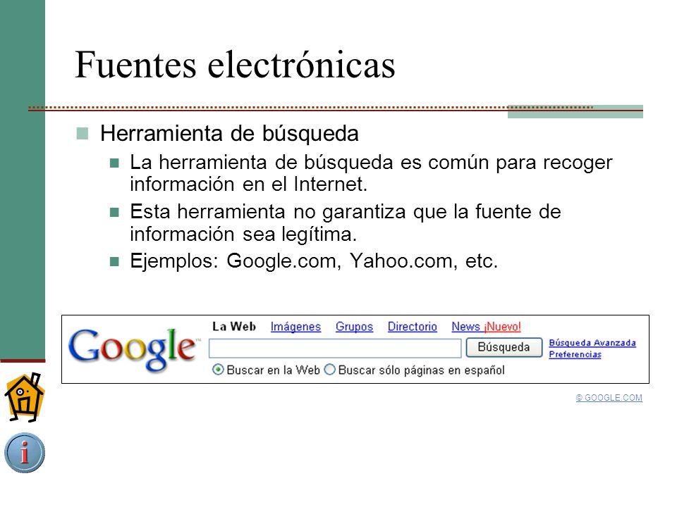 Fuentes electrónicas Herramienta de búsqueda