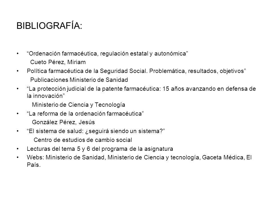 BIBLIOGRAFÍA: Ordenación farmacéutica, regulación estatal y autonómica Cueto Pérez, Miriam.