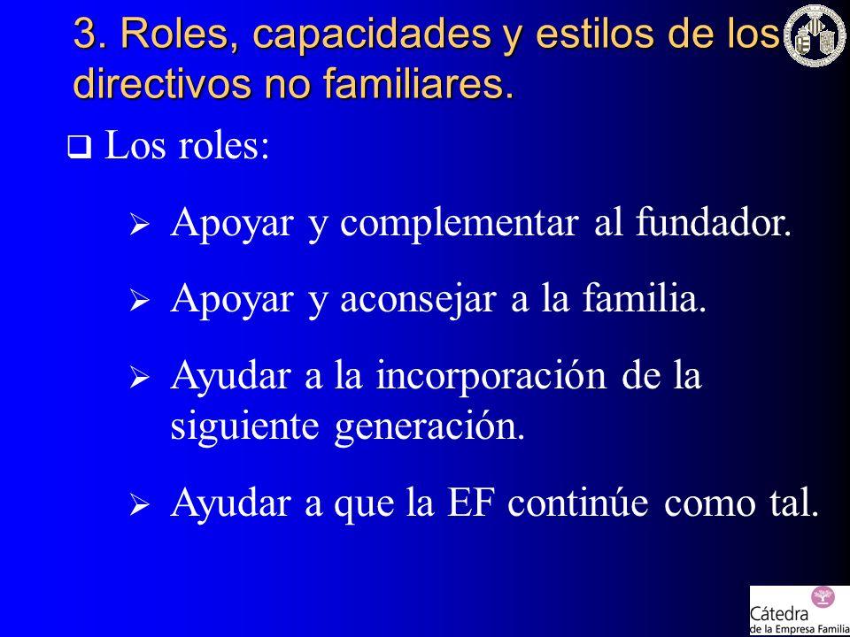3. Roles, capacidades y estilos de los directivos no familiares.